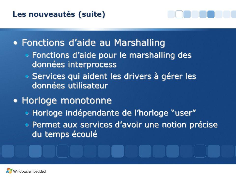 Les nouveautés (suite) Fonctions daide au MarshallingFonctions daide au Marshalling Fonctions daide pour le marshalling des données interprocessFoncti
