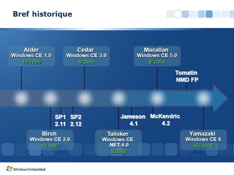 SP1 2.11 SP2 2.12 Jameson 4.1 McKendric 4.2 Tomatin NMD FP Bref historique Alder Windows CE 1.0 11/1996 Birch Windows CE 2.0 11/1997 Cedar Windows CE