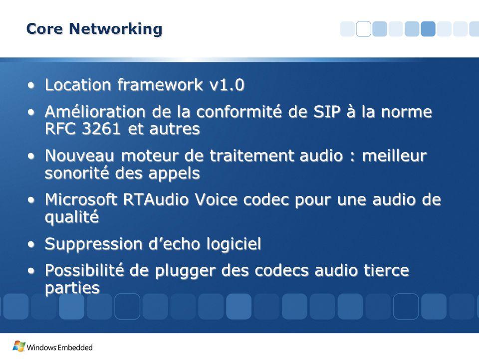 Core Networking Location framework v1.0Location framework v1.0 Amélioration de la conformité de SIP à la norme RFC 3261 et autresAmélioration de la co
