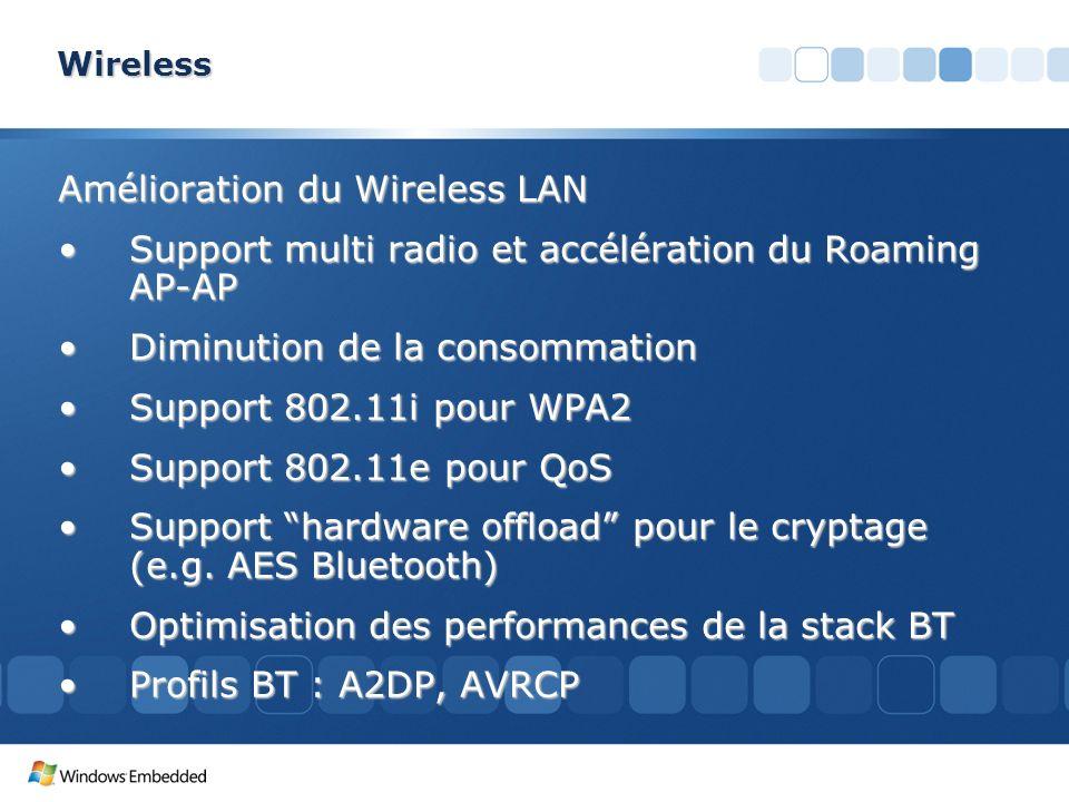 Wireless Amélioration du Wireless LAN Support multi radio et accélération du Roaming AP-APSupport multi radio et accélération du Roaming AP-AP Diminut