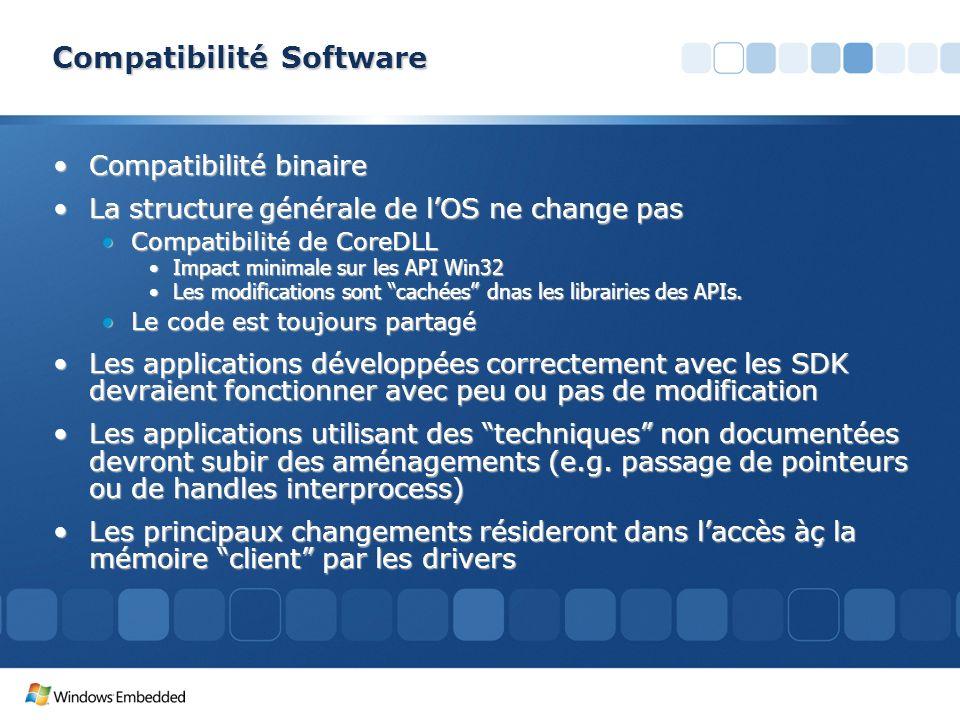 Compatibilité Software Compatibilité binaireCompatibilité binaire La structure générale de lOS ne change pasLa structure générale de lOS ne change pas
