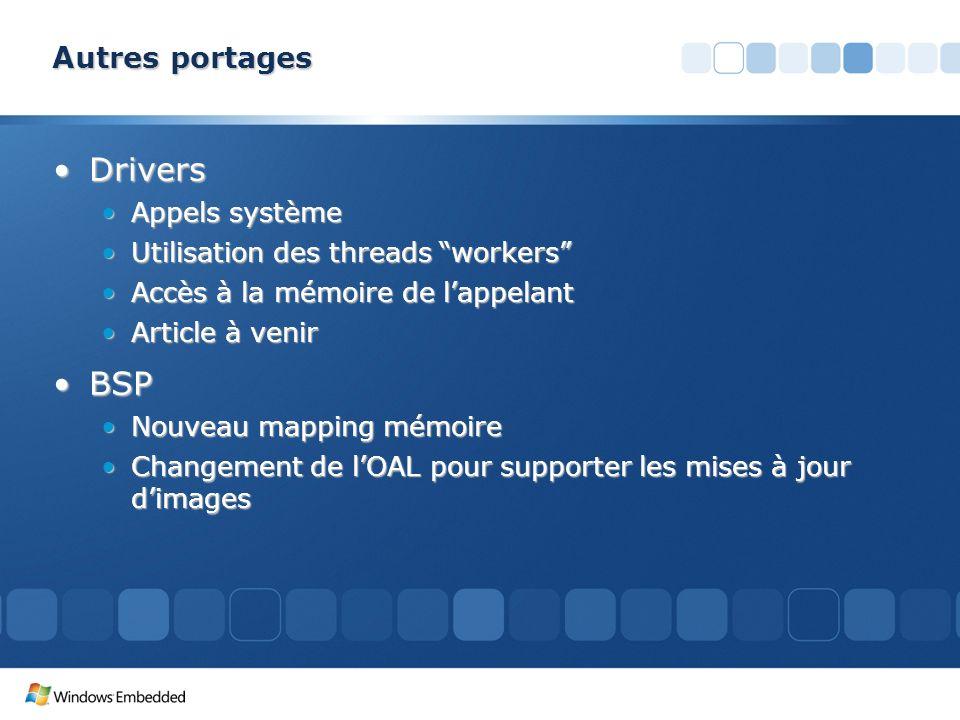 Autres portages DriversDrivers Appels systèmeAppels système Utilisation des threads workersUtilisation des threads workers Accès à la mémoire de lappe