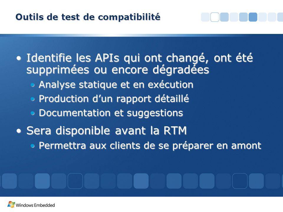 Outils de test de compatibilité Identifie les APIs qui ont changé, ont été supprimées ou encore dégradéesIdentifie les APIs qui ont changé, ont été su