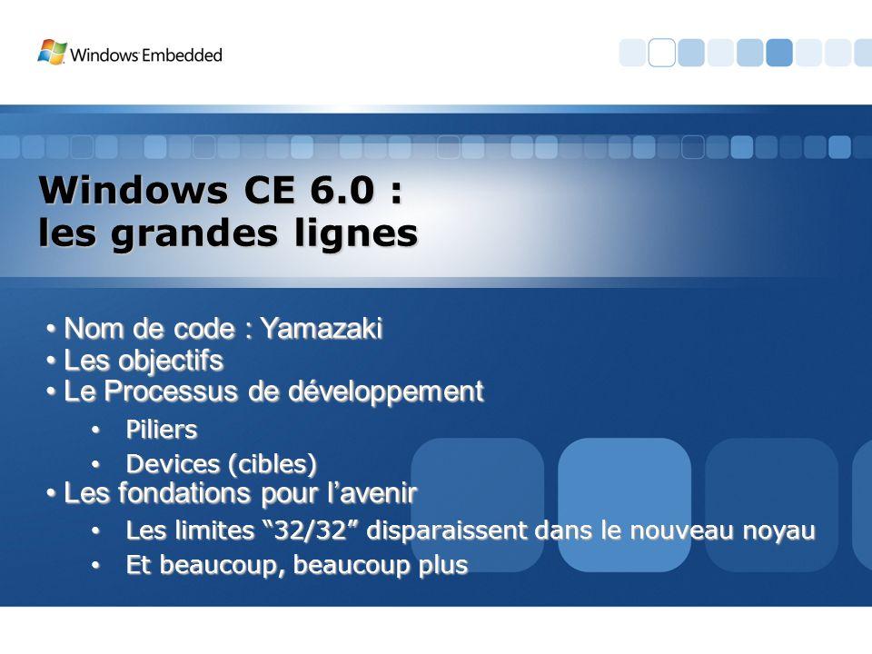 Windows CE 6.0 : les grandes lignes Nom de code : Yamazaki Nom de code : Yamazaki Les objectifs Les objectifs Le Processus de développement Le Process