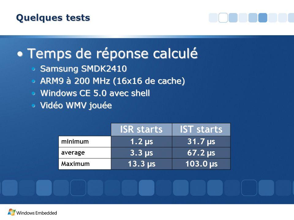 Quelques tests Temps de réponse calculéTemps de réponse calculé Samsung SMDK2410Samsung SMDK2410 ARM9 à 200 MHz (16x16 de cache)ARM9 à 200 MHz (16x16