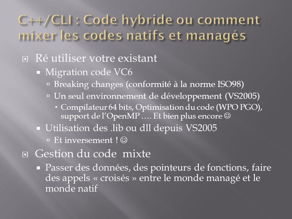 Ré utiliser votre existant Migration code VC6 Breaking changes (conformité à la norme ISO98) Un seul environnement de développement (VS2005) Compilateur 64 bits, Optimisation du code (WPO PGO), support de lOpenMP ….