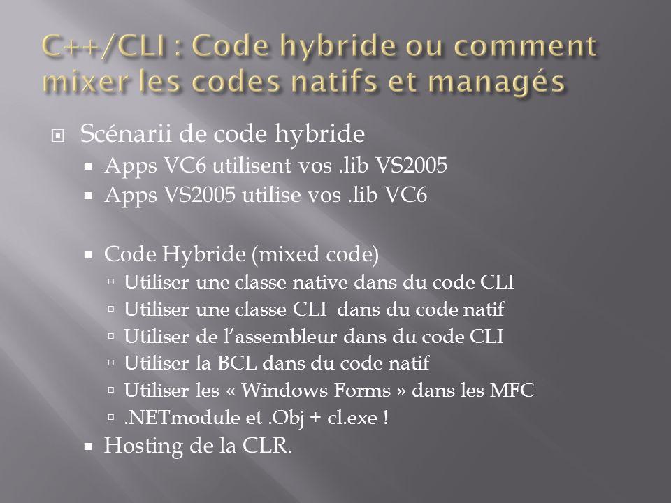 Scénarii de code hybride Apps VC6 utilisent vos.lib VS2005 Apps VS2005 utilise vos.lib VC6 Code Hybride (mixed code) Utiliser une classe native dans du code CLI Utiliser une classe CLI dans du code natif Utiliser de lassembleur dans du code CLI Utiliser la BCL dans du code natif Utiliser les « Windows Forms » dans les MFC.NETmodule et.Obj + cl.exe .