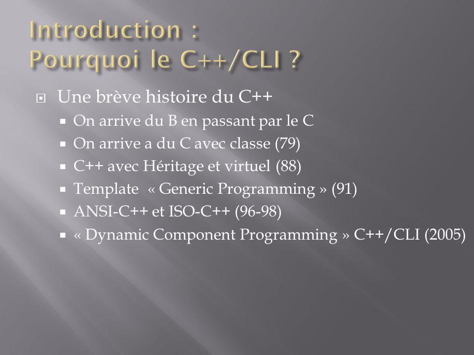 Une brève histoire du C++ On arrive du B en passant par le C On arrive a du C avec classe (79) C++ avec Héritage et virtuel (88) Template « Generic Programming » (91) ANSI-C++ et ISO-C++ (96-98) « Dynamic Component Programming » C++/CLI (2005)