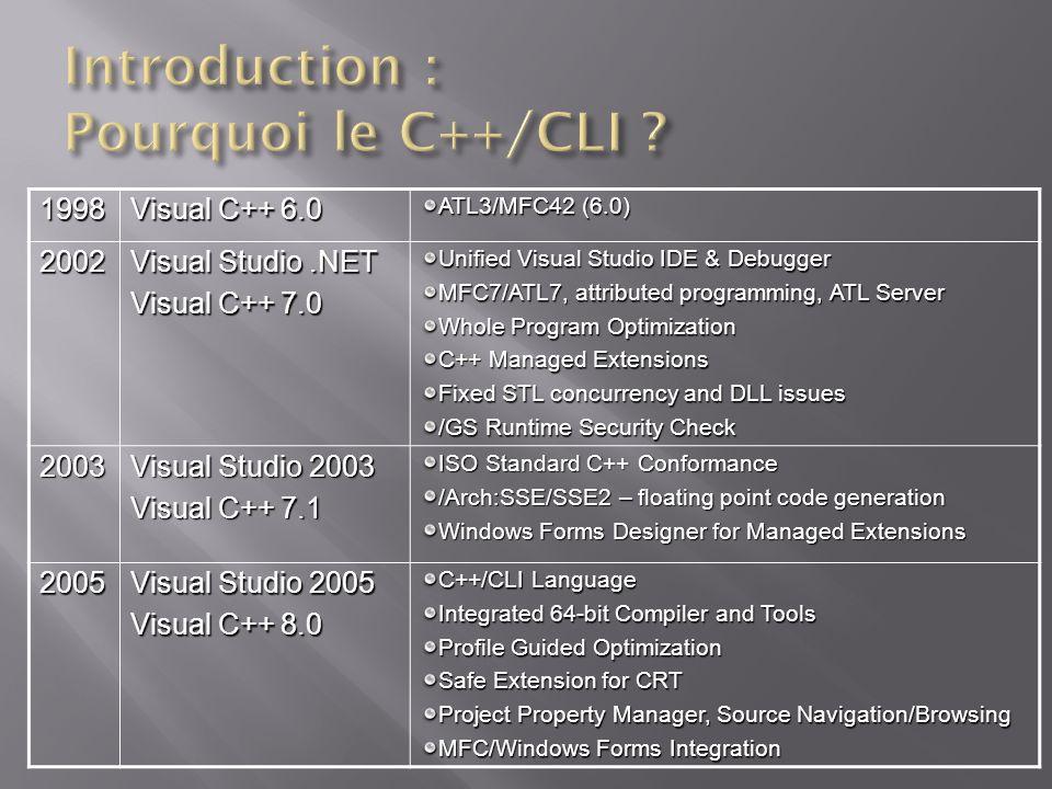 Ré utiliser les compétences « fines/pointues » des développeurs C++ On ne va pas ré écrire des millions de lignes de code pour une nouvelle plateforme :.NET « We love your C++ Code » Syntaxe déposée à lECMA et ISO Travail initié en 2002 avec les MC++ (Managed Extension for C++) Intégration de C++/CLI avec ISO-C++ « LE » language de linteropérabilité Utiliser le Framework.NET de façon naturelle en C++