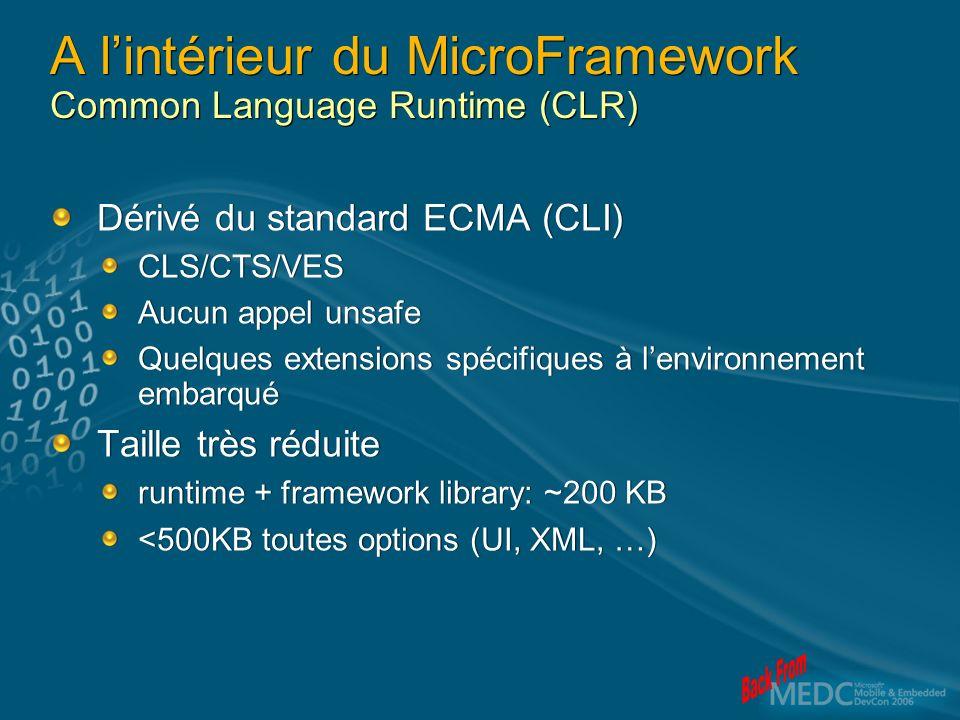 A lintérieur du MicroFramework Common Language Runtime (CLR) Dérivé du standard ECMA (CLI) CLS/CTS/VES Aucun appel unsafe Quelques extensions spécifiques à lenvironnement embarqué Taille très réduite runtime + framework library: ~200 KB <500KB toutes options (UI, XML, …) Dérivé du standard ECMA (CLI) CLS/CTS/VES Aucun appel unsafe Quelques extensions spécifiques à lenvironnement embarqué Taille très réduite runtime + framework library: ~200 KB <500KB toutes options (UI, XML, …)
