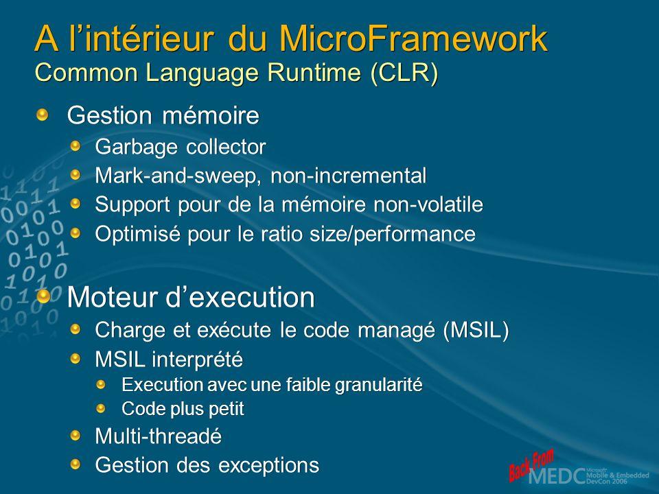 A lintérieur du MicroFramework Common Language Runtime (CLR) Gestion mémoire Garbage collector Mark-and-sweep, non-incremental Support pour de la mémo