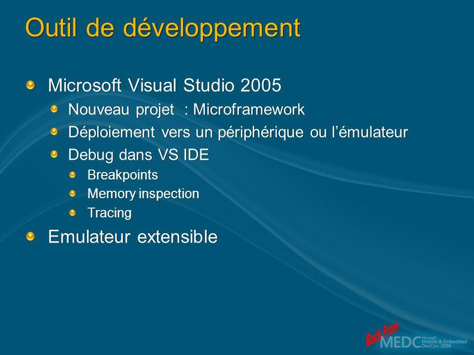 Outil de développement Microsoft Visual Studio 2005 Nouveau projet : Microframework Déploiement vers un périphérique ou lémulateur Debug dans VS IDE B