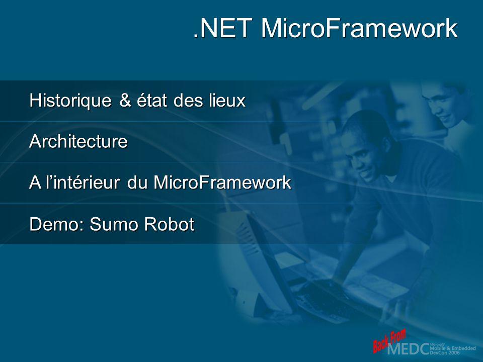 Historique & état des lieux Architecture A lintérieur du MicroFramework Demo: Sumo Robot.NET MicroFramework