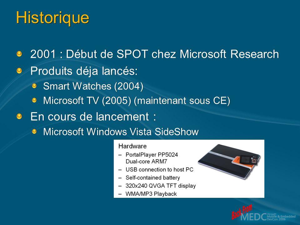 Historique 2001 : Début de SPOT chez Microsoft Research Produits déja lancés: Smart Watches (2004) Microsoft TV (2005) (maintenant sous CE) En cours de lancement : Microsoft Windows Vista SideShow 2001 : Début de SPOT chez Microsoft Research Produits déja lancés: Smart Watches (2004) Microsoft TV (2005) (maintenant sous CE) En cours de lancement : Microsoft Windows Vista SideShow