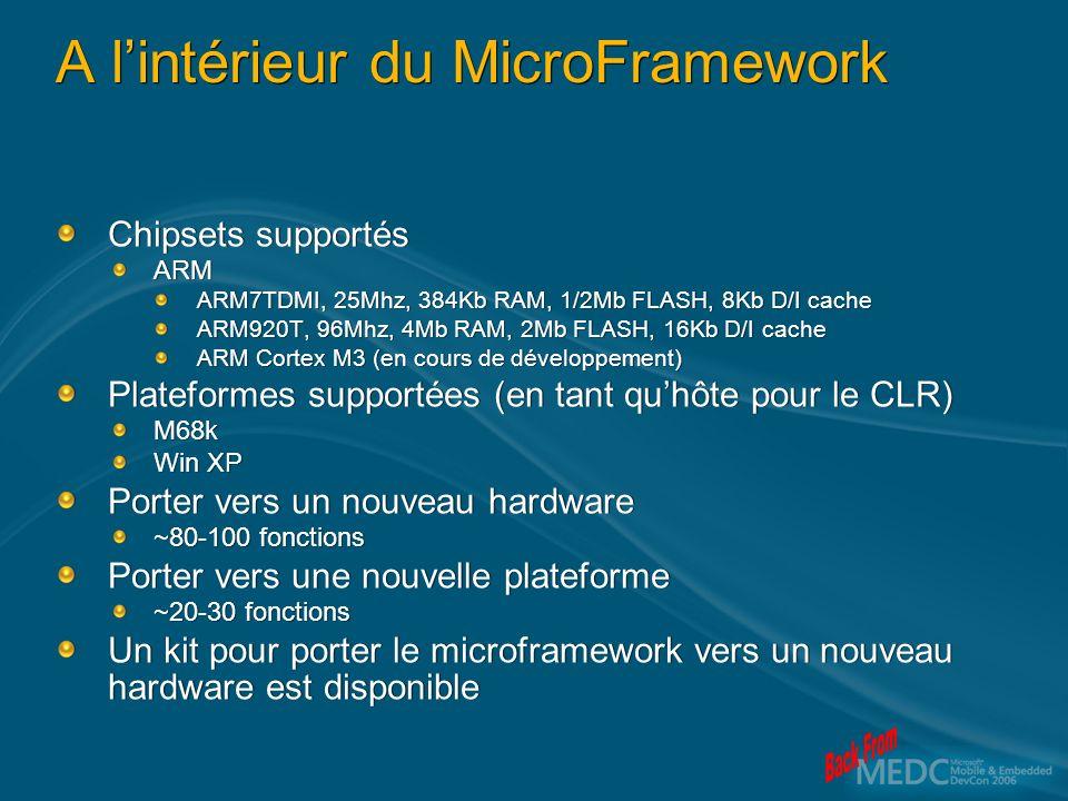 A lintérieur du MicroFramework Chipsets supportés ARM ARM7TDMI, 25Mhz, 384Kb RAM, 1/2Mb FLASH, 8Kb D/I cache ARM920T, 96Mhz, 4Mb RAM, 2Mb FLASH, 16Kb D/I cache ARM Cortex M3 (en cours de développement) Plateformes supportées (en tant quhôte pour le CLR) M68k Win XP Porter vers un nouveau hardware ~80-100 fonctions Porter vers une nouvelle plateforme ~20-30 fonctions Un kit pour porter le microframework vers un nouveau hardware est disponible Chipsets supportés ARM ARM7TDMI, 25Mhz, 384Kb RAM, 1/2Mb FLASH, 8Kb D/I cache ARM920T, 96Mhz, 4Mb RAM, 2Mb FLASH, 16Kb D/I cache ARM Cortex M3 (en cours de développement) Plateformes supportées (en tant quhôte pour le CLR) M68k Win XP Porter vers un nouveau hardware ~80-100 fonctions Porter vers une nouvelle plateforme ~20-30 fonctions Un kit pour porter le microframework vers un nouveau hardware est disponible