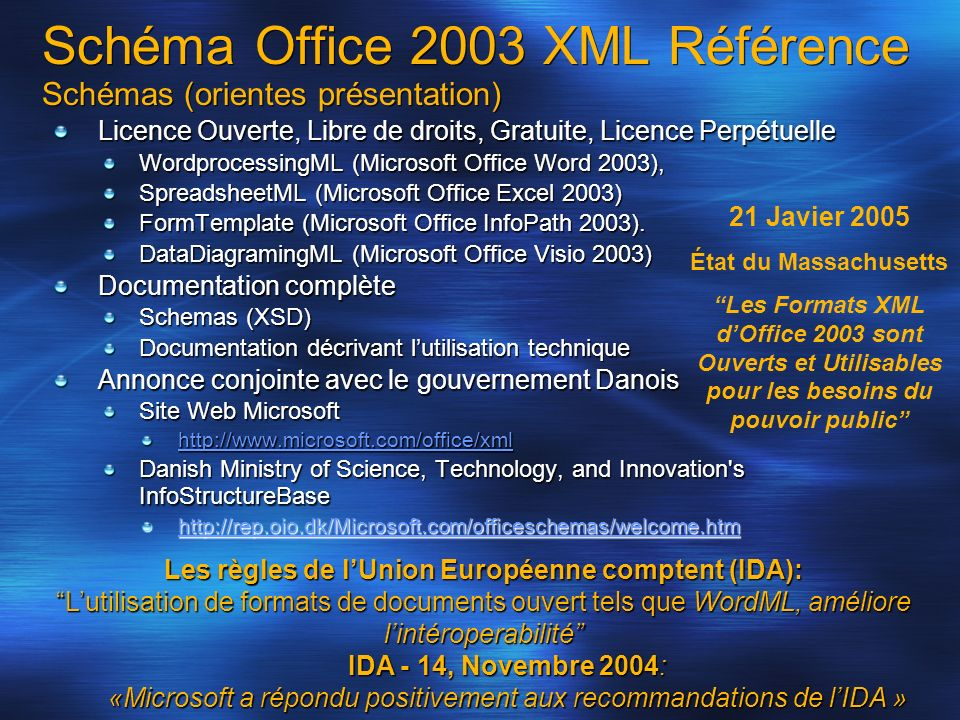 Schéma Office 2003 XML Référence Schémas (orientes présentation) Licence Ouverte, Libre de droits, Gratuite, Licence Perpétuelle WordprocessingML (Microsoft Office Word 2003), SpreadsheetML (Microsoft Office Excel 2003) FormTemplate (Microsoft Office InfoPath 2003).