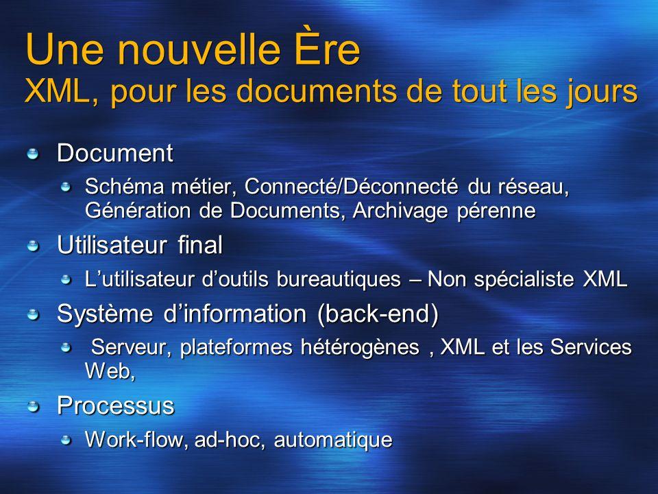 Une nouvelle Ère XML, pour les documents de tout les jours Document Schéma métier, Connecté/Déconnecté du réseau, Génération de Documents, Archivage p