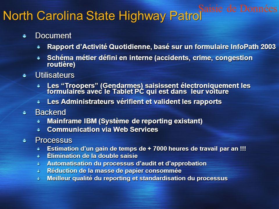 North Carolina State Highway Patrol Document Rapport dActivité Quotidienne, basé sur un formulaire InfoPath 2003 Schéma métier défini en interne (acci