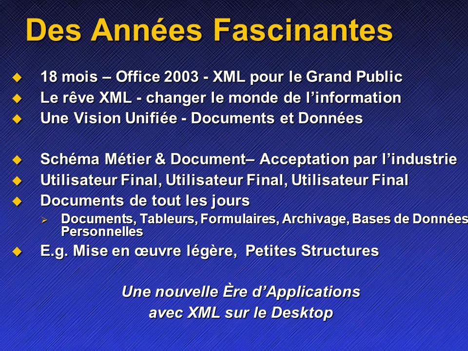 Des Années Fascinantes 18 mois – Office 2003 - XML pour le Grand Public 18 mois – Office 2003 - XML pour le Grand Public Le rêve XML - changer le mond