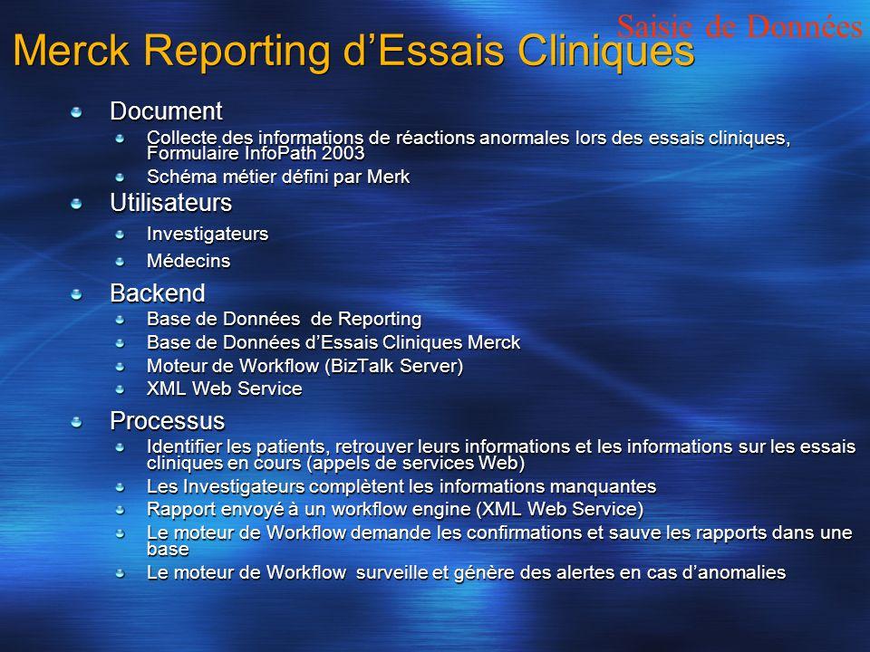 Merck Reporting dEssais Cliniques Document Collecte des informations de réactions anormales lors des essais cliniques, Formulaire InfoPath 2003 Schéma