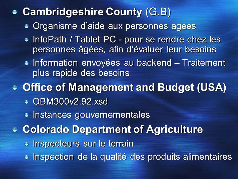 Cambridgeshire County (G.B) Organisme daide aux personnes agees InfoPath / Tablet PC - pour se rendre chez les personnes âgées, afin dévaluer leur bes