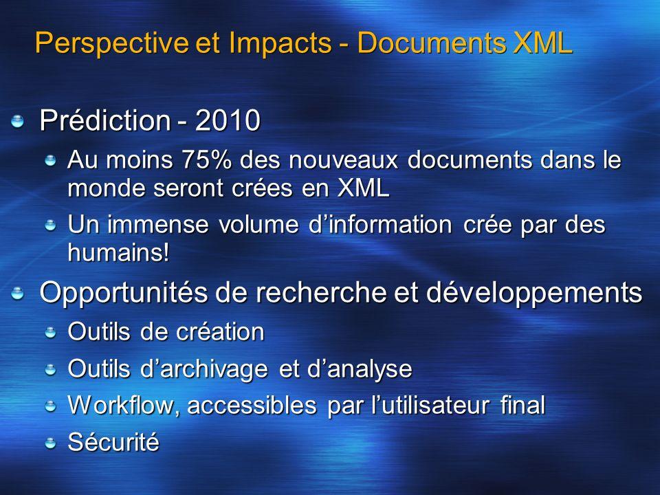 Prédiction - 2010 Au moins 75% des nouveaux documents dans le monde seront crées en XML Un immense volume dinformation crée par des humains! Opportuni