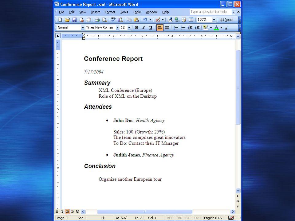 Perspective et Impacts - Documents XML Administration Électronique Un rôle majeur – Interopérabilité Ex.