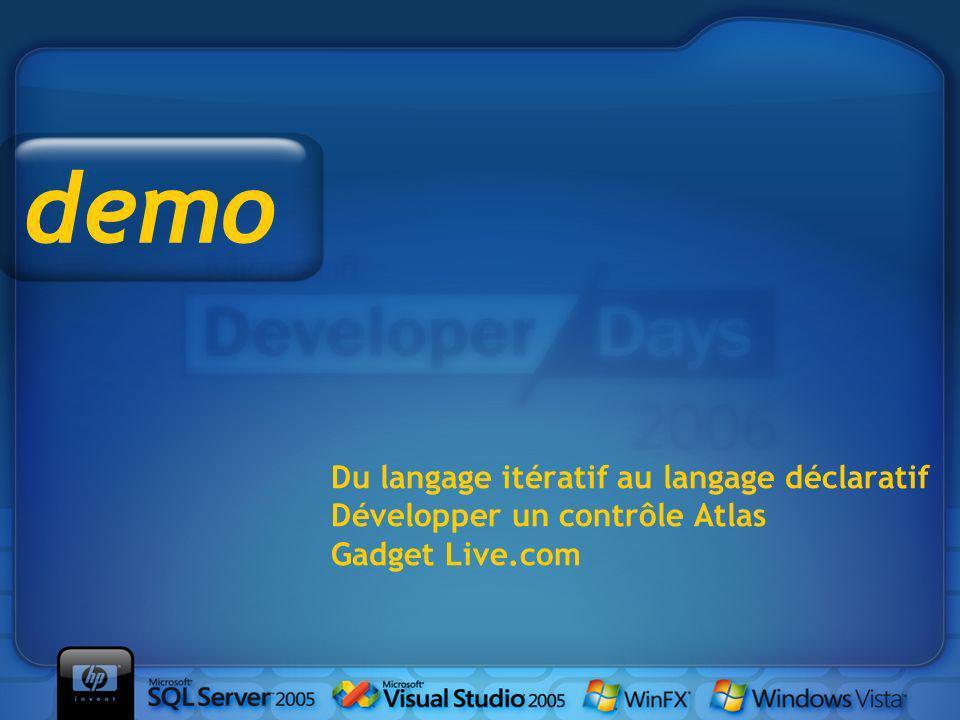 Du langage itératif au langage déclaratif Développer un contrôle Atlas Gadget Live.com demo