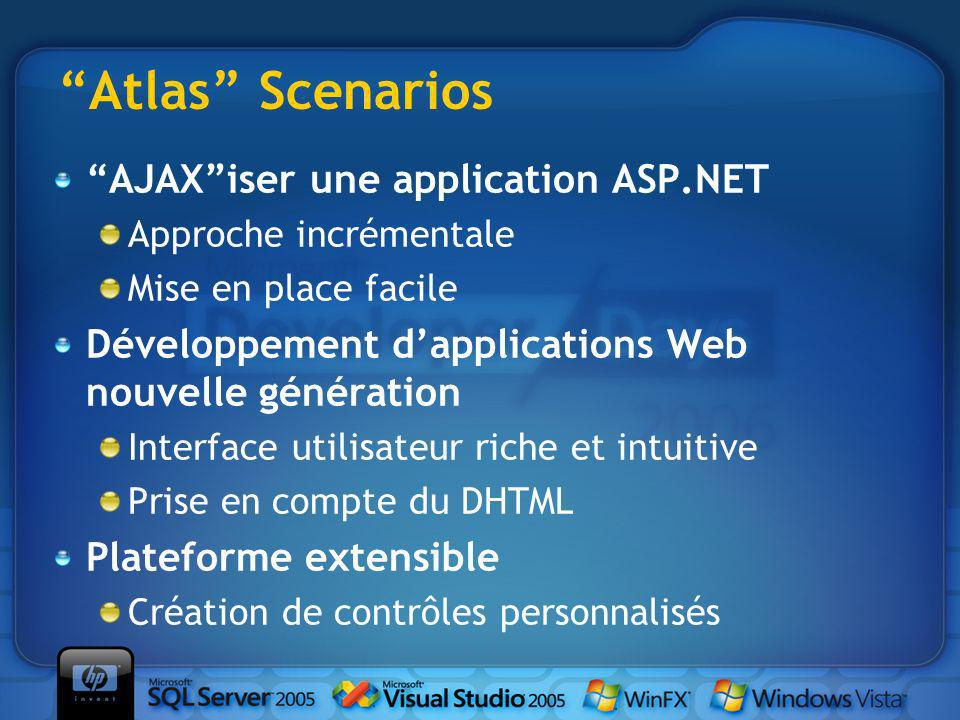 Atlas Scenarios AJAXiser une application ASP.NET Approche incrémentale Mise en place facile Développement dapplications Web nouvelle génération Interf