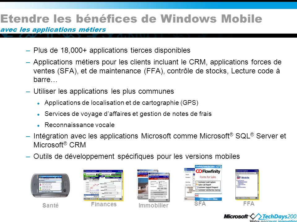 Etendre les bénéfices de Windows Mobile avec les applications métiers –Plus de 18,000+ applications tierces disponibles –Applications métiers pour les