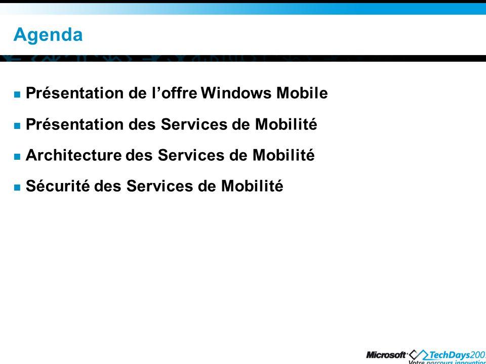 Agenda Présentation de loffre Windows Mobile Présentation des Services de Mobilité Architecture des Services de Mobilité Sécurité des Services de Mobilité