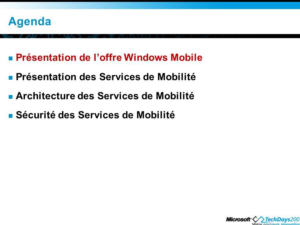ASP.NET Mobile Controls.NET Compact Framework SQL Server Mobile SQL Server Notification Services Exchange Active Sync Outlook Mobile Access Outlook Web Access SECURITY MOBILITY La stratégie plate-forme mobile Microsoft Intégration native de la mobilité sur lensemble de loffre
