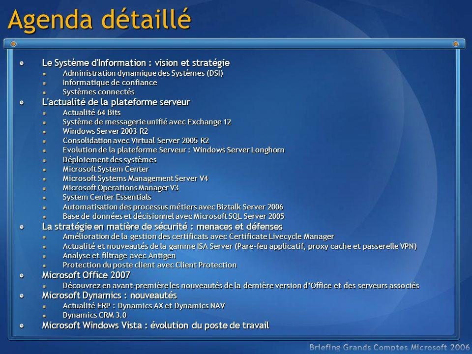 Agenda détaillé Le Système d'Information : vision et stratégie Administration dynamique des Systèmes (DSI) Informatique de confiance Systèmes connecté
