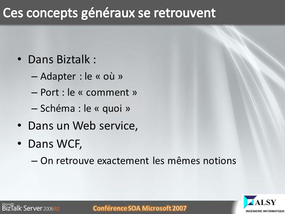 Dans Biztalk : – Adapter : le « où » – Port : le « comment » – Schéma : le « quoi » Dans un Web service, Dans WCF, – On retrouve exactement les mêmes