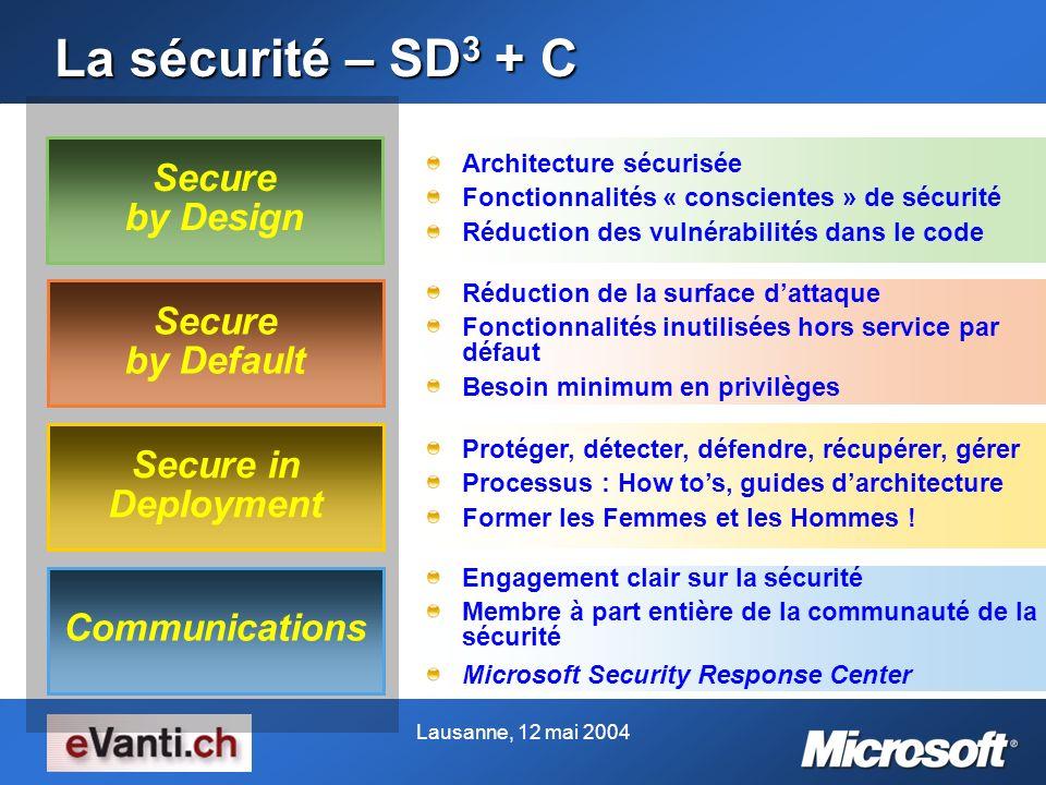 La sécurité – SD 3 + C Engagement clair sur la sécurité Membre à part entière de la communauté de la sécurité Microsoft Security Response Center Commu