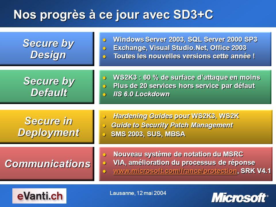 Lausanne, 12 mai 2004 Nos progrès à ce jour avec SD3+C Nouveau système de notation du MSRC Nouveau système de notation du MSRC VIA, amélioration du pr