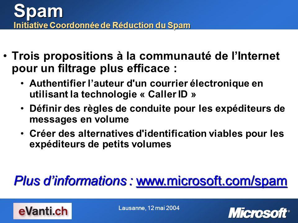 Spam Initiative Coordonnée de Réduction du Spam Trois propositions à la communauté de lInternet pour un filtrage plus efficace :Trois propositions à l