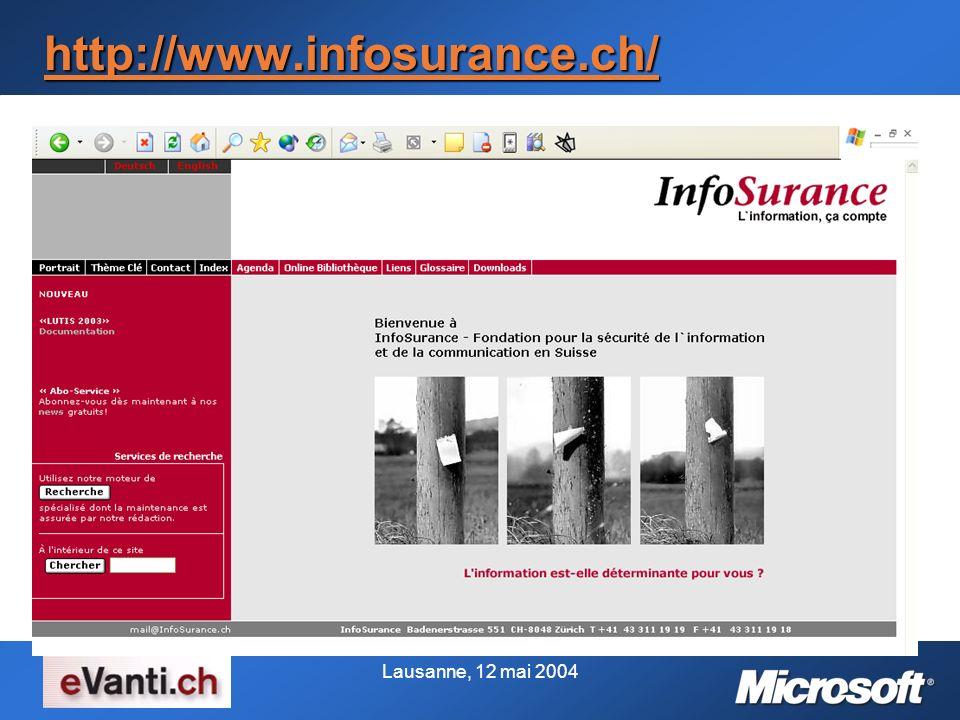 Lausanne, 12 mai 2004 http://www.infosurance.ch/