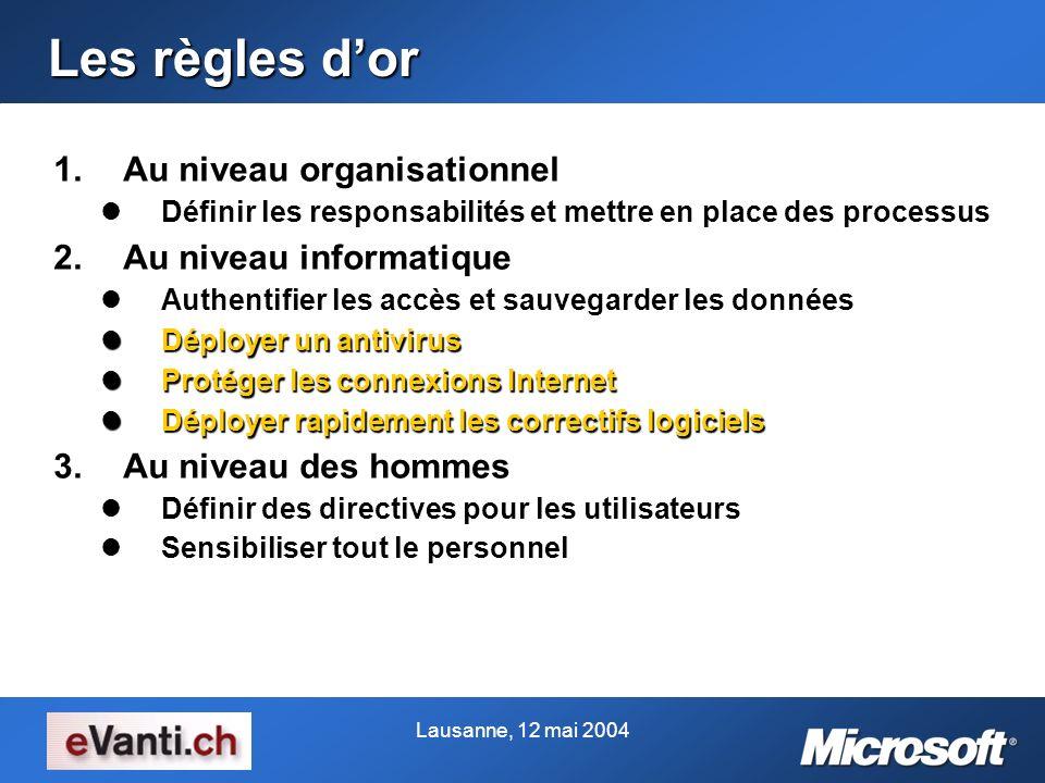 Lausanne, 12 mai 2004 Les règles dor 1.Au niveau organisationnel Définir les responsabilités et mettre en place des processus Définir les responsabili
