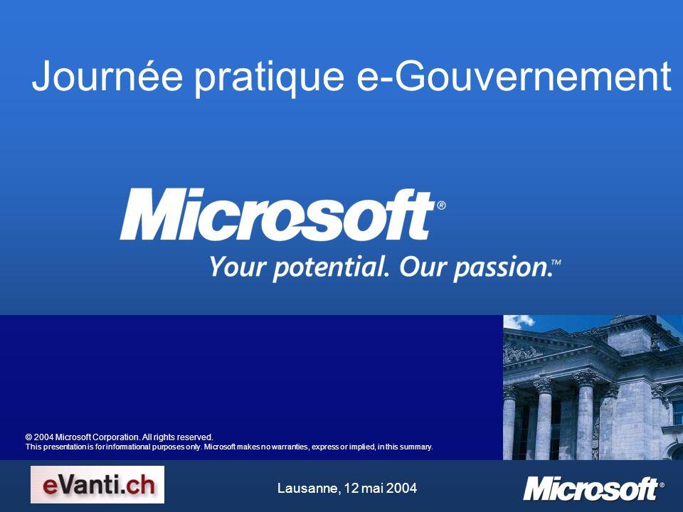 Journée pratique e-Gouvernement Lausanne, 12 mai 2004 © 2004 Microsoft Corporation.