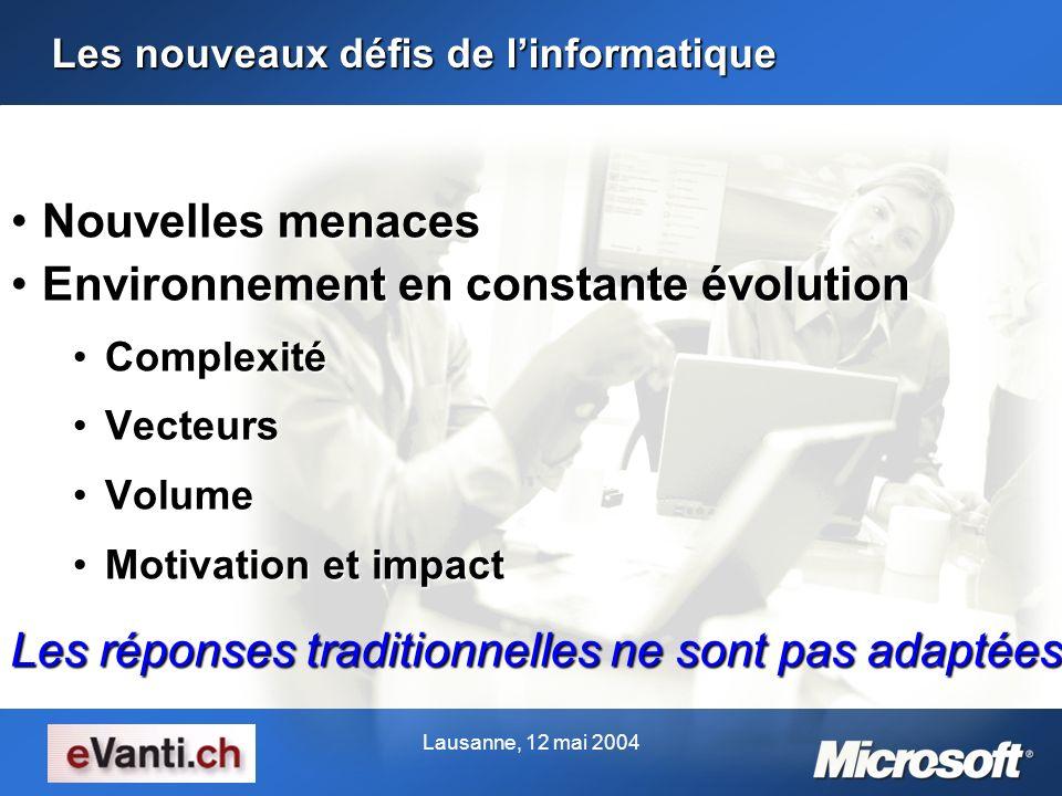Lausanne, 12 mai 2004 Les nouveaux défis de linformatique Nouvelles menacesNouvelles menaces Environnement en constante évolutionEnvironnement en cons
