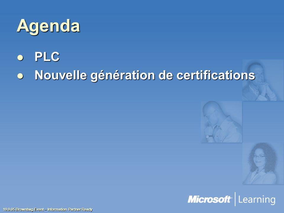 19.9.05 Brownbag Event – Information Partner Ready Agenda PLC PLC Nouvelle génération de certifications Nouvelle génération de certifications