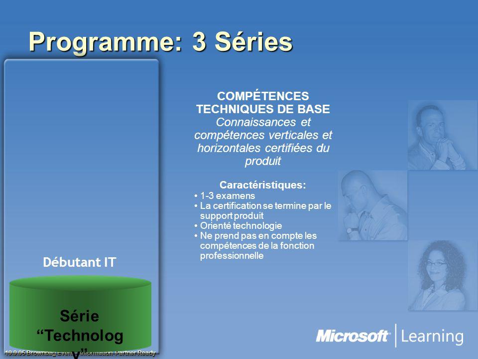 19.9.05 Brownbag Event – Information Partner Ready Programme: 3 Séries COMPÉTENCES TECHNIQUES DE BASE Connaissances et compétences verticales et horiz
