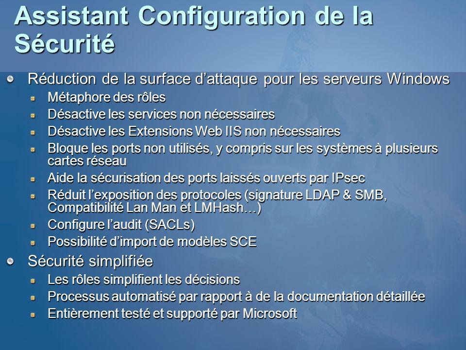 Assistant Configuration de la Sécurité Réduction de la surface dattaque pour les serveurs Windows Métaphore des rôles Désactive les services non néces