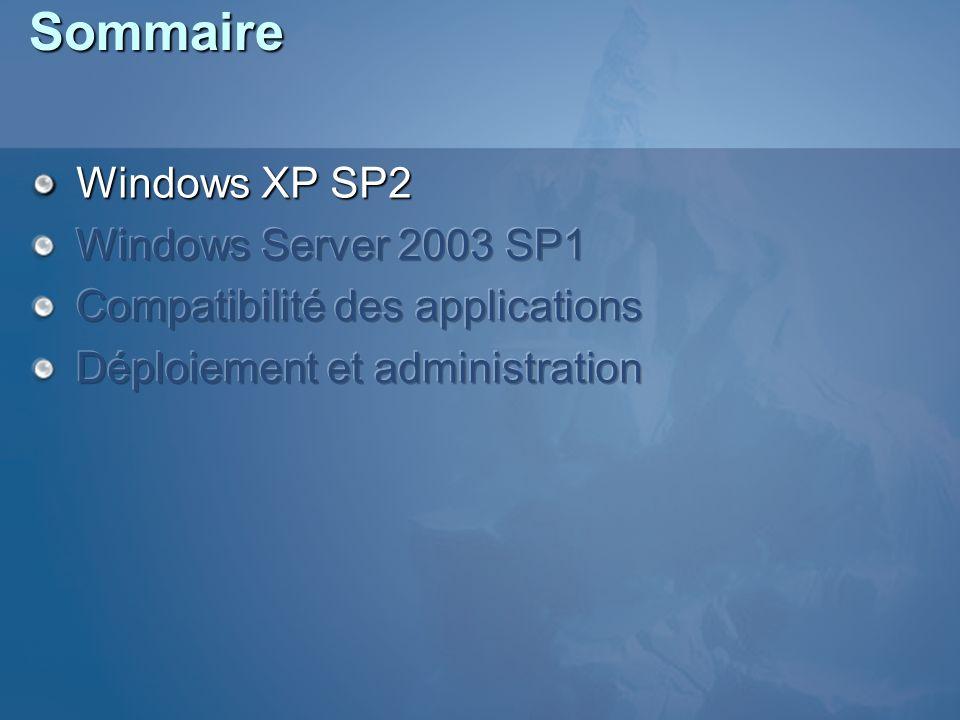 Application Compatibility Toolkit (ACT) ACT 4.0 (mars 2005) Spécifiquement conçu pour le SP2 Pour les professionnels Disponible : http://www.microsoft.com/technet/prodtechnol/windows/a ppcompatibility/default.mspx http://www.microsoft.com/technet/prodtechnol/windows/a ppcompatibility/default.mspx http://www.microsoft.com/technet/prodtechnol/windows/a ppcompatibility/default.mspx Application Compatibility Testing and Mitigation Guide for Windows XP Service Pack 2 (SP2) http://www.microsoft.com/technet/prodtechnol/winx ppro/deploy/appcom/default.mspx http://www.microsoft.com/technet/prodtechnol/winx ppro/deploy/appcom/default.mspx http://www.microsoft.com/technet/prodtechnol/winx ppro/deploy/appcom/default.mspx