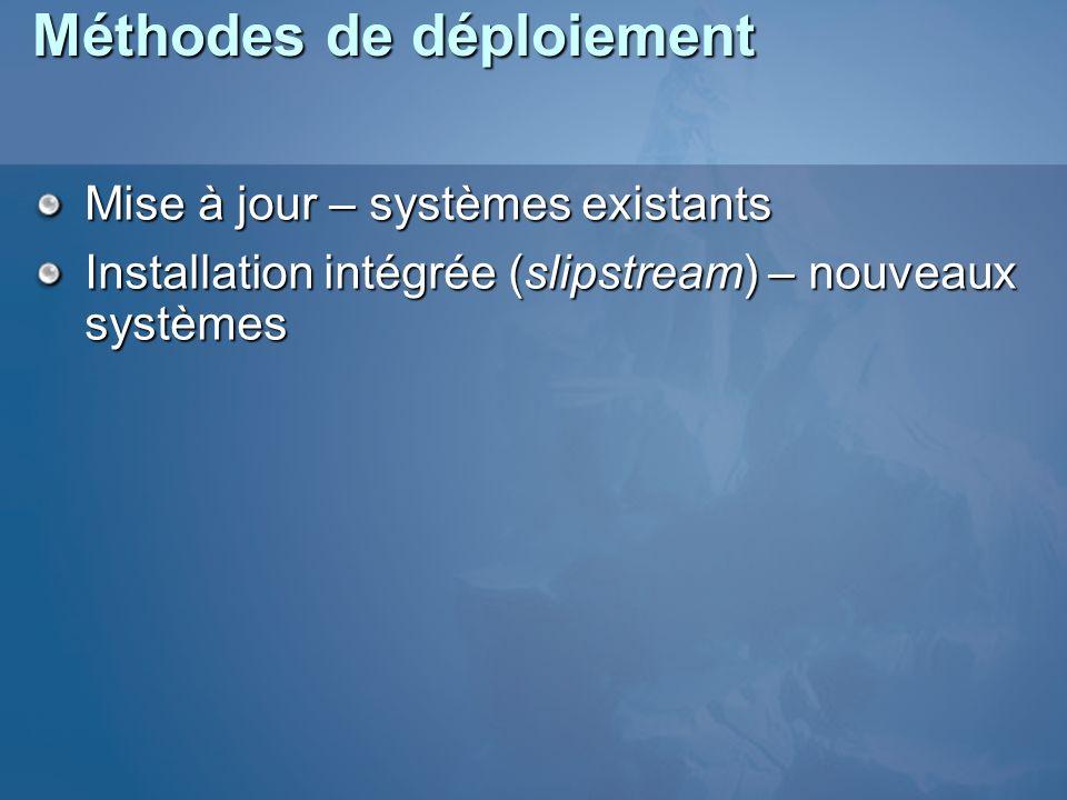 Méthodes de déploiement Mise à jour – systèmes existants Installation intégrée (slipstream) – nouveaux systèmes