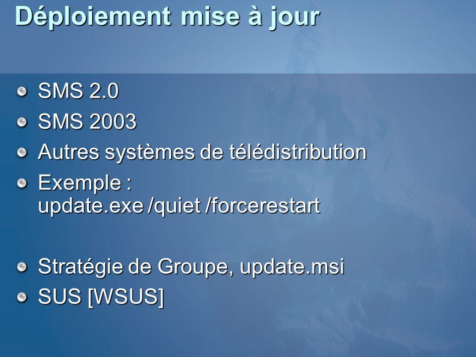 Déploiement mise à jour SMS 2.0 SMS 2003 Autres systèmes de télédistribution Exemple : update.exe /quiet /forcerestart Stratégie de Groupe, update.msi