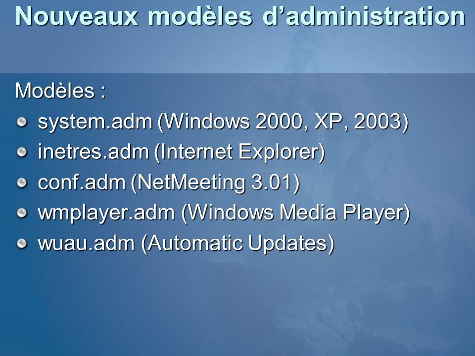 Nouveaux modèles dadministration Modèles : system.adm (Windows 2000, XP, 2003) inetres.adm (Internet Explorer) conf.adm (NetMeeting 3.01) wmplayer.adm
