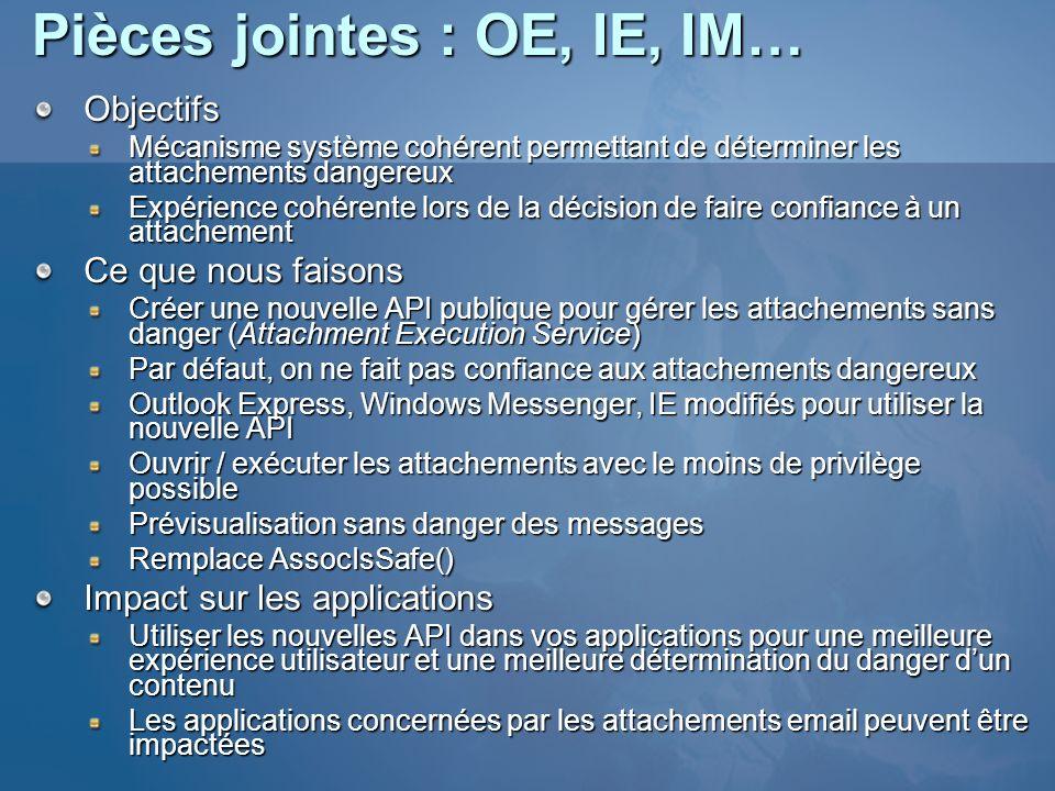 Pièces jointes : OE, IE, IM… Objectifs Mécanisme système cohérent permettant de déterminer les attachements dangereux Expérience cohérente lors de la