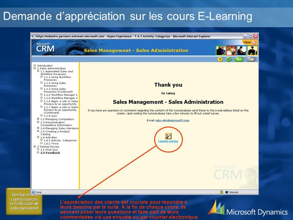 Renforcer les connaissances et lefficacité de votre personnel Demande dappréciation sur les cours E-Learning Lappréciation des clients est cruciale pour répondre à leurs besoins par la suite.